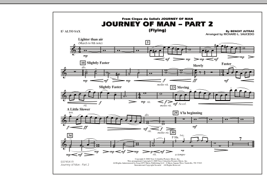 Richard L. Saucedo Journey of Man - Part 2 (Flying) - Eb Alto Sax sheet music preview music notes and score for Marching Band including 1 page(s)