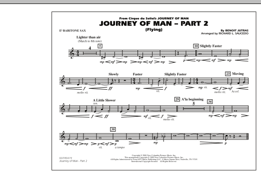 Richard L. Saucedo Journey of Man - Part 2 (Flying) - Eb Baritone Sax sheet music preview music notes and score for Marching Band including 1 page(s)
