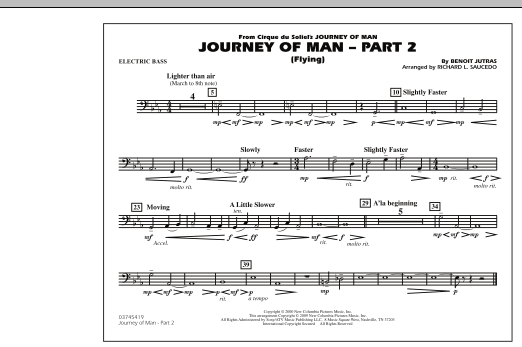Richard L. Saucedo Journey of Man - Part 2 (Flying) - Electric Bass sheet music preview music notes and score for Marching Band including 1 page(s)