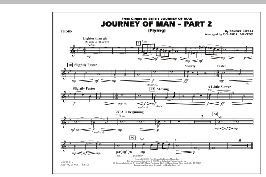 Richard L. Saucedo Journey of Man - Part 2 (Flying) - F Horn sheet music preview music notes and score for Marching Band including 1 page(s)