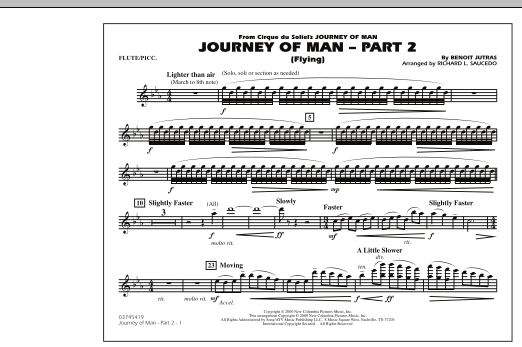 Richard L. Saucedo Journey of Man - Part 2 (Flying) - Flute/Piccolo sheet music preview music notes and score for Marching Band including 1 page(s)