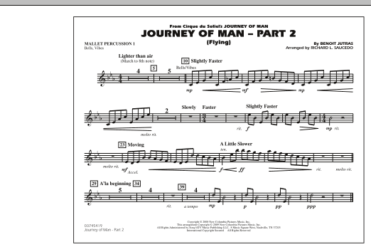 Richard L. Saucedo Journey of Man - Part 2 (Flying) - Mallet Percussion 1 sheet music preview music notes and score for Marching Band including 1 page(s)