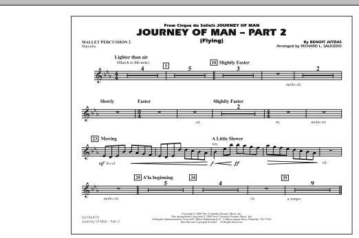 Richard L. Saucedo Journey of Man - Part 2 (Flying) - Mallet Percussion 2 sheet music preview music notes and score for Marching Band including 1 page(s)