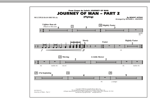 Richard L. Saucedo Journey of Man - Part 2 (Flying) - Multiple Bass Drums sheet music preview music notes and score for Marching Band including 1 page(s)