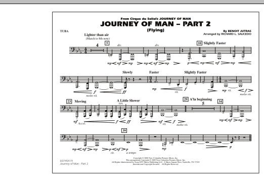 Richard L. Saucedo Journey of Man - Part 2 (Flying) - Tuba sheet music preview music notes and score for Marching Band including 1 page(s)