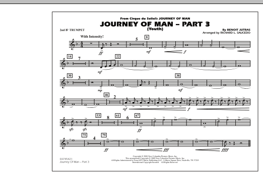 Richard L. Saucedo Journey of Man - Part 3 (Youth) - 2nd Bb Trumpet sheet music preview music notes and score for Marching Band including 1 page(s)