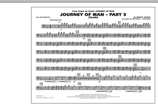 Richard L. Saucedo Journey of Man - Part 3 (Youth) - 2nd Trombone sheet music preview music notes and score for Marching Band including 1 page(s)