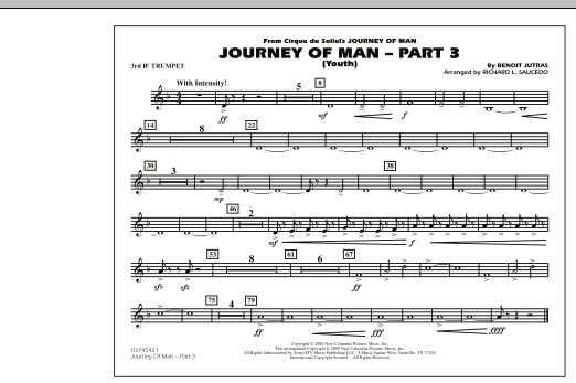 Richard L. Saucedo Journey of Man - Part 3 (Youth) - 3rd Bb Trumpet sheet music preview music notes and score for Marching Band including 1 page(s)