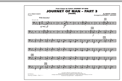 Richard L. Saucedo Journey of Man - Part 3 (Youth) - Aux Percussion sheet music preview music notes and score for Marching Band including 1 page(s)