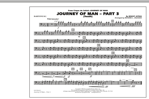 Richard L. Saucedo Journey of Man - Part 3 (Youth) - Baritone B.C. sheet music preview music notes and score for Marching Band including 1 page(s)
