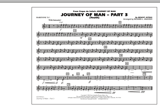 Richard L. Saucedo Journey of Man - Part 3 (Youth) - Baritone T.C. sheet music preview music notes and score for Marching Band including 1 page(s)