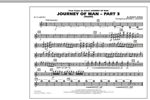 Richard L. Saucedo Journey of Man - Part 3 (Youth) - Bb Clarinet sheet music preview music notes and score for Marching Band including 1 page(s)