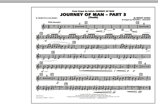 Richard L. Saucedo Journey of Man - Part 3 (Youth) - Bb Horn/Flugelhorn sheet music preview music notes and score for Marching Band including 1 page(s)