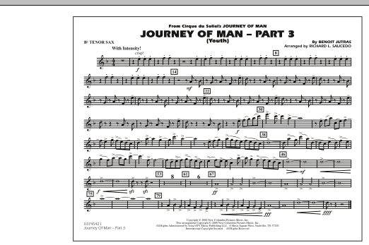 Richard L. Saucedo Journey of Man - Part 3 (Youth) - Bb Tenor Sax sheet music preview music notes and score for Marching Band including 1 page(s)