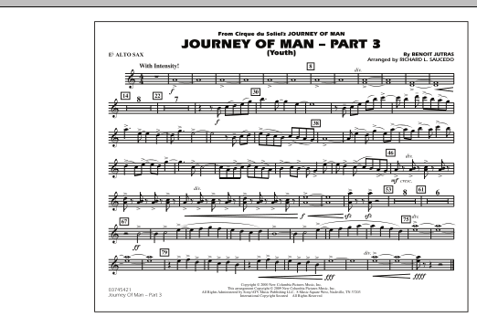 Richard L. Saucedo Journey of Man - Part 3 (Youth) - Eb Alto Sax sheet music preview music notes and score for Marching Band including 1 page(s)