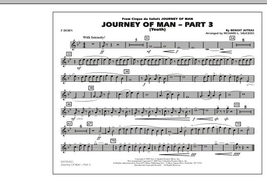 Richard L. Saucedo Journey of Man - Part 3 (Youth) - F Horn sheet music preview music notes and score for Marching Band including 1 page(s)