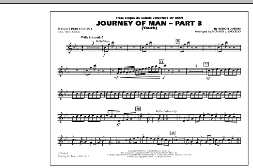 Richard L. Saucedo Journey of Man - Part 3 (Youth) - Mallet Percussion 1 sheet music preview music notes and score for Marching Band including 1 page(s)