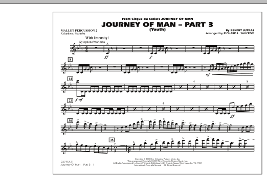 Richard L. Saucedo Journey of Man - Part 3 (Youth) - Mallet Percussion 2 sheet music preview music notes and score for Marching Band including 1 page(s)
