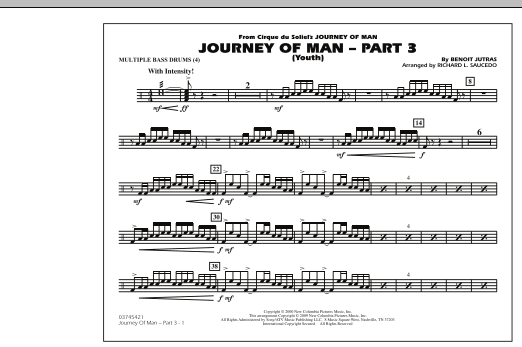 Richard L. Saucedo Journey of Man - Part 3 (Youth) - Multiple Bass Drums sheet music preview music notes and score for Marching Band including 1 page(s)