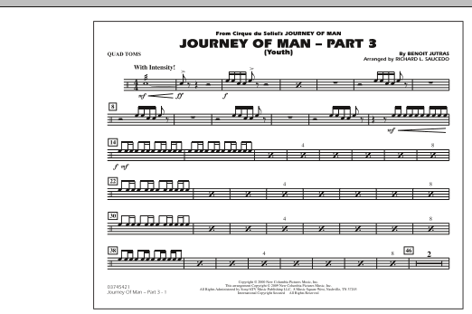 Richard L. Saucedo Journey of Man - Part 3 (Youth) - Quad Toms sheet music preview music notes and score for Marching Band including 1 page(s)