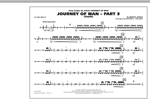 Richard L. Saucedo Journey of Man - Part 3 (Youth) - Snare Drum sheet music preview music notes and score for Marching Band including 1 page(s)