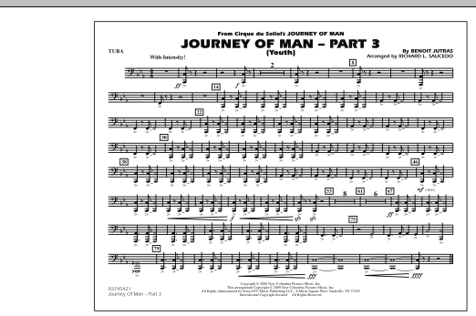 Richard L. Saucedo Journey of Man - Part 3 (Youth) - Tuba sheet music preview music notes and score for Marching Band including 1 page(s)