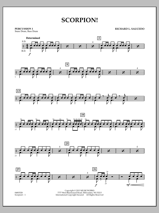 Richard L. Saucedo Scorpion! - Percussion 1 sheet music notes and chords
