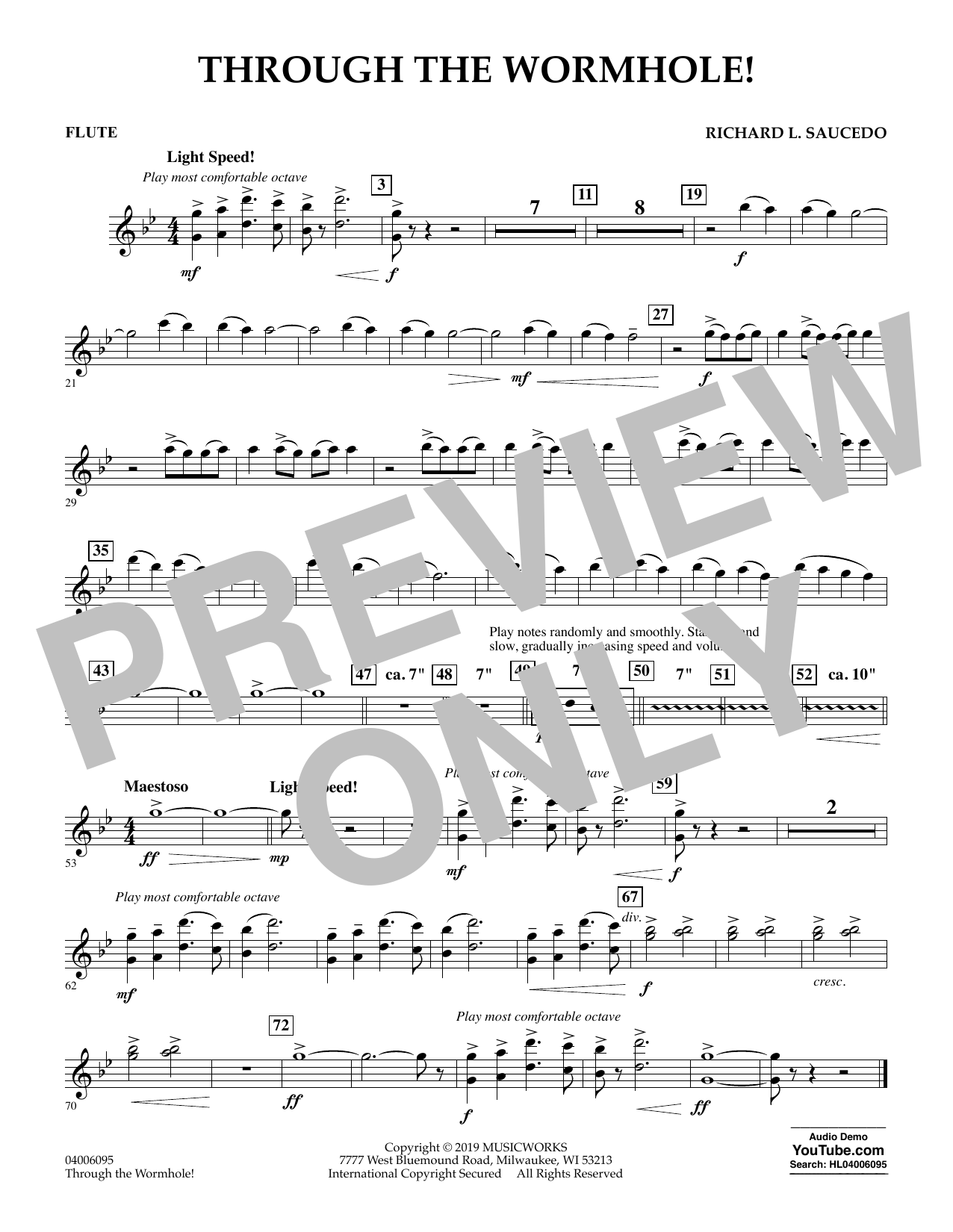 Richard L. Saucedo Through the Worm Hole - Flute sheet music preview music notes and score for Concert Band including 1 page(s)