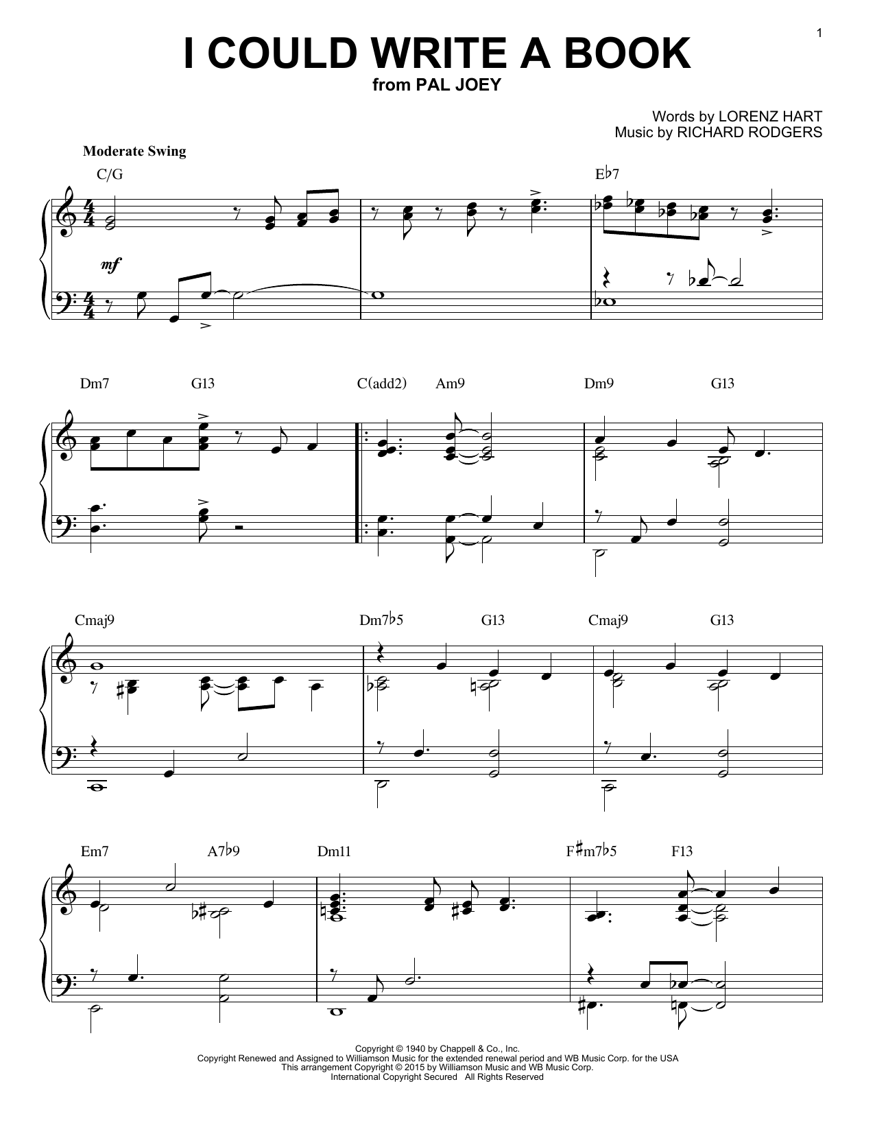 Download Richard Rodgers 'I Could Write A Book' Digital Sheet Music Notes & Chords and start playing in minutes
