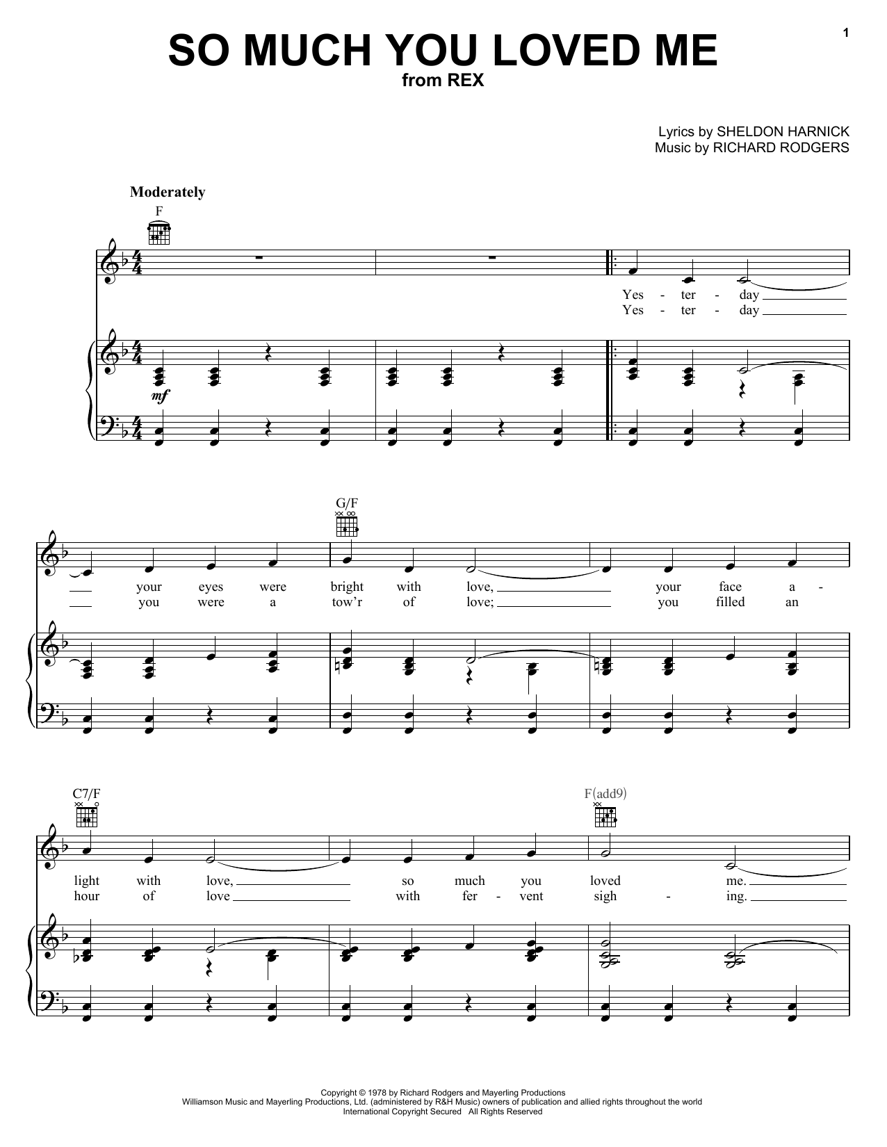 Richard Rodgers So Much You Loved Me sheet music notes and chords