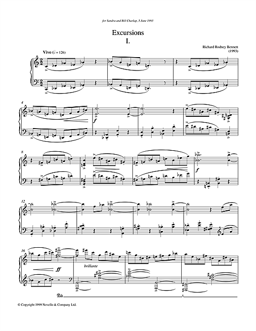 Download Richard Rodney Bennett 'Excursions I' Digital Sheet Music Notes & Chords and start playing in minutes