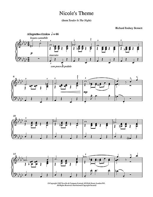 Richard Rodney Bennett Nicole's Theme sheet music notes and chords
