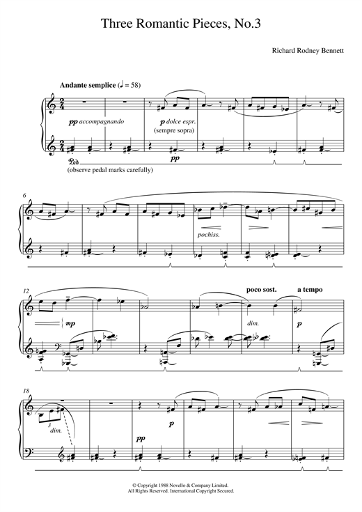 Download Richard Rodney Bennett 'Three Romantic Pieces, No.3' Digital Sheet Music Notes & Chords and start playing in minutes