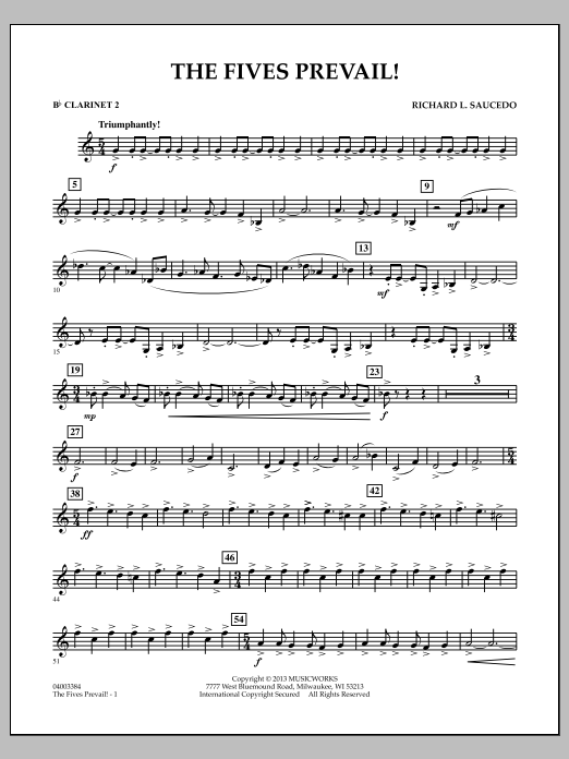Richard Saucedo The Fives Prevail! - Bb Clarinet 2 sheet music notes and chords