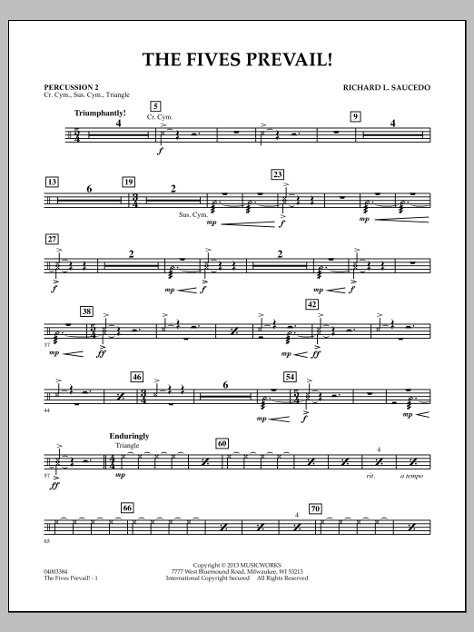 Richard Saucedo The Fives Prevail! - Percussion 2 sheet music notes and chords
