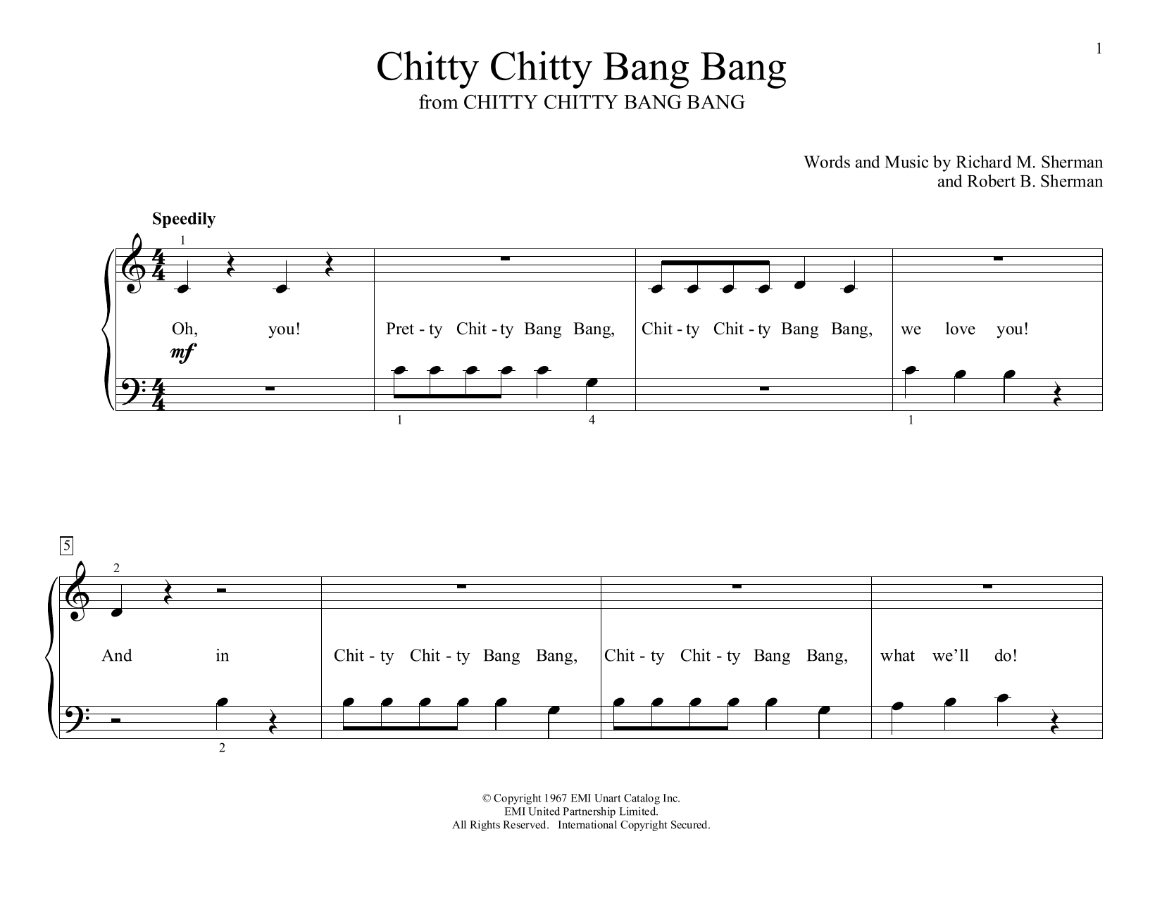 Richard Sherman & Robert Sherman Chitty Chitty Bang Bang (arr. Christopher Hussey) sheet music preview music notes and score for Educational Piano including 2 page(s)