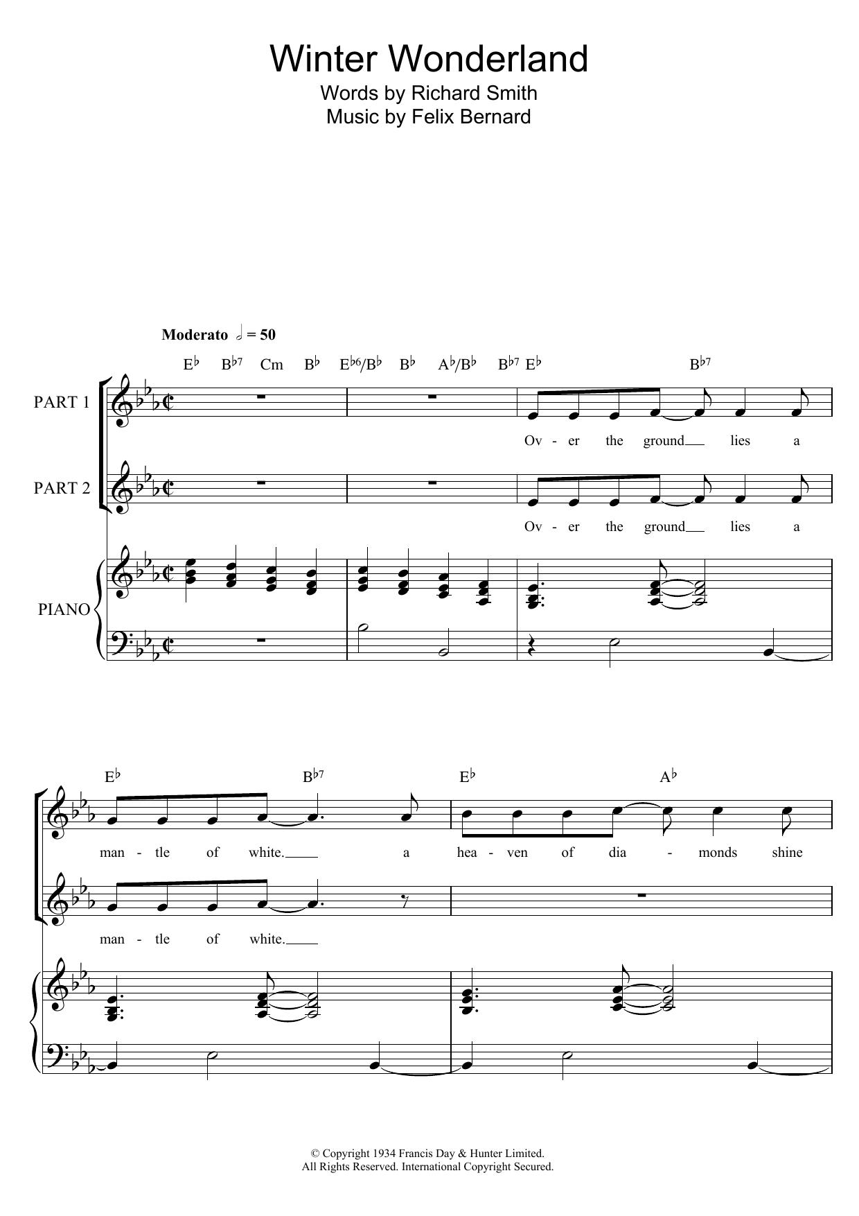 Felix Bernard Winter Wonderland sheet music preview music notes and score for 2-Part Choir including 10 page(s)