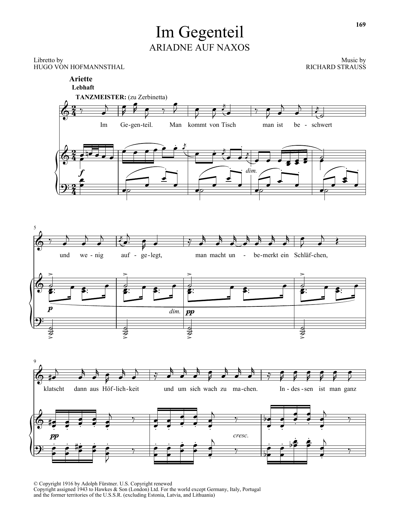 Richard Strauss Im Gegenteil sheet music preview music notes and score for Piano & Vocal including 3 page(s)