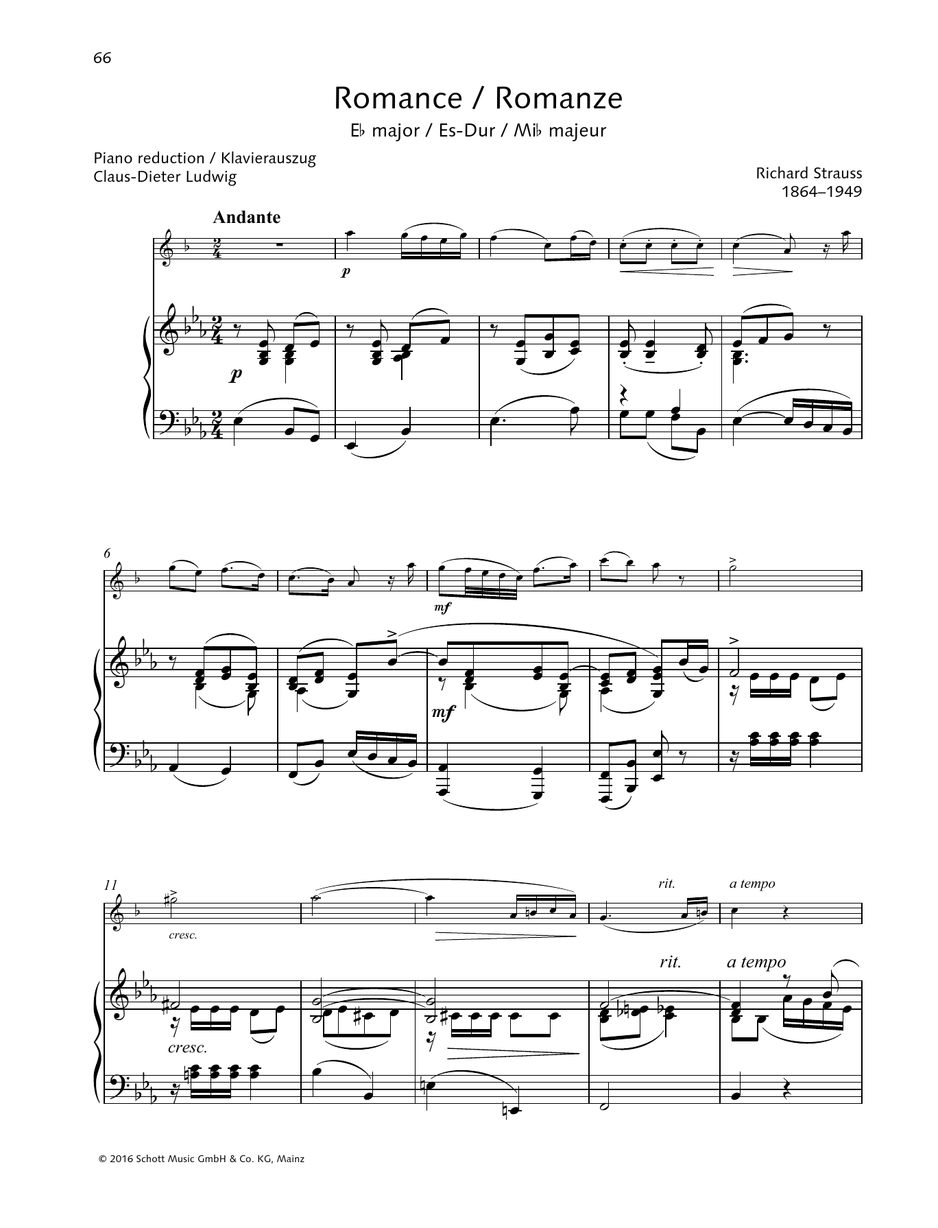 Richard Strauss Romance E-flat major sheet music preview music notes and score for Woodwind Solo including 15 page(s)