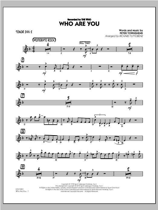 Richard Tuttobene Who Are You - Tenor Sax 2 sheet music preview music notes and score for Jazz Ensemble including 3 page(s)