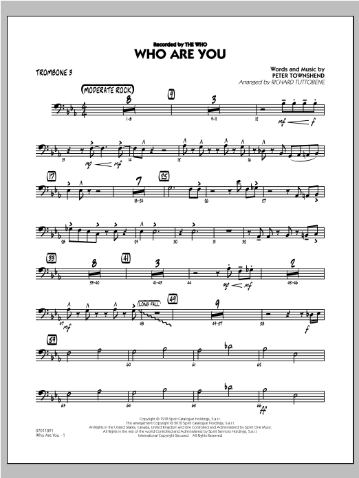 Richard Tuttobene Who Are You - Trombone 3 sheet music preview music notes and score for Jazz Ensemble including 2 page(s)