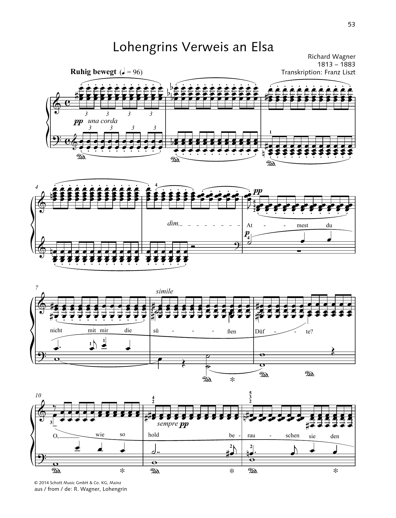 Richard Wagner Lohengrins Verweis an Elsa sheet music preview music notes and score for Piano Solo including 5 page(s)