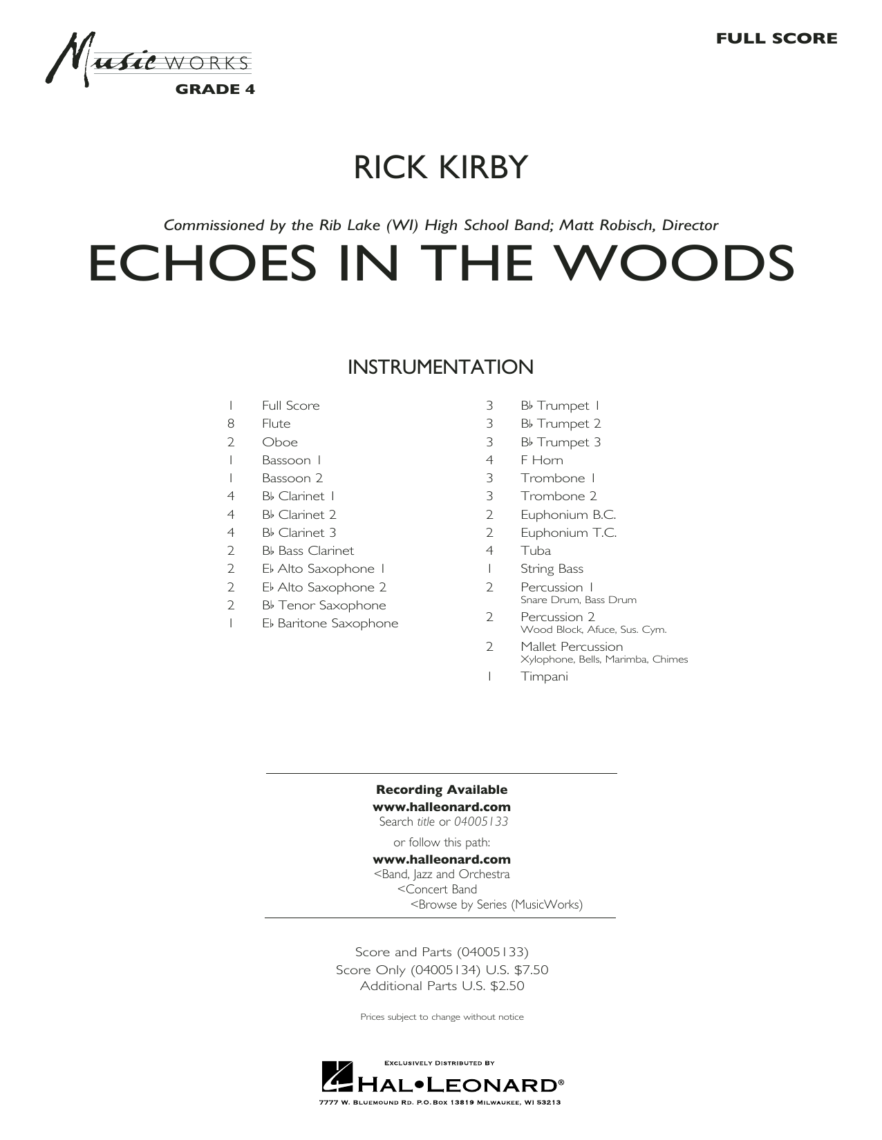 Rick Kirby Echoes in the Woods - Conductor Score (Full Score) sheet music preview music notes and score for Concert Band including 32 page(s)