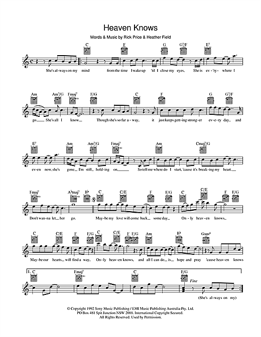 Rick Price Heaven Knows sheet music preview music notes and score for Melody Line, Lyrics & Chords including 2 page(s)