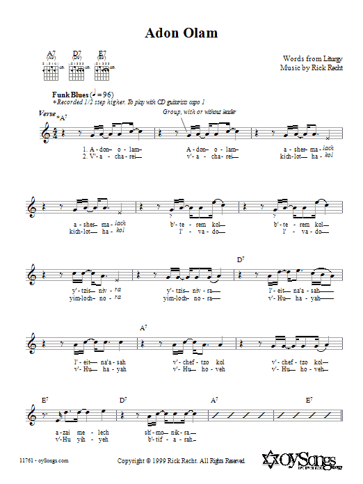Rick Recht Adon Olam sheet music preview music notes and score for Melody Line, Lyrics & Chords including 2 page(s)
