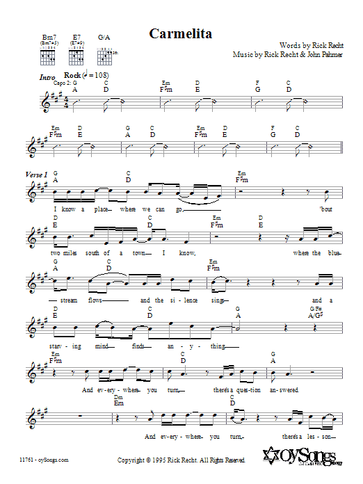 Rick Recht Carmelita sheet music preview music notes and score for Melody Line, Lyrics & Chords including 5 page(s)