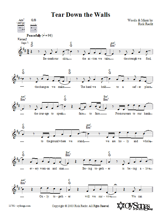 Rick Recht Tear Down the Walls sheet music notes and chords