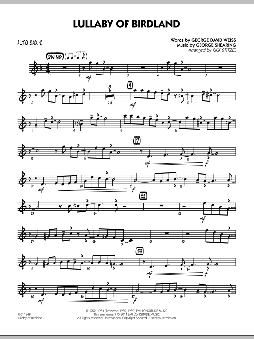 Rick Stitzel Lullaby Of Birdland - Alto Sax 2 sheet music preview music notes and score for Jazz Ensemble including 2 page(s)