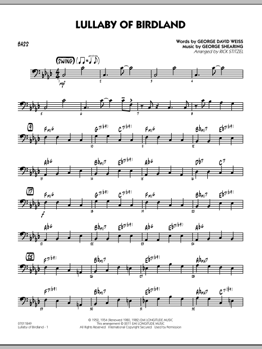 Rick Stitzel Lullaby Of Birdland - Bass sheet music preview music notes and score for Jazz Ensemble including 2 page(s)