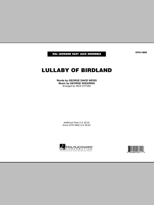 Rick Stitzel Lullaby Of Birdland - Conductor Score (Full Score) sheet music preview music notes and score for Jazz Ensemble including 11 page(s)